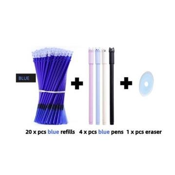 Długopisy zmazywalne 20 wkładów 4 długopisy+ gumka