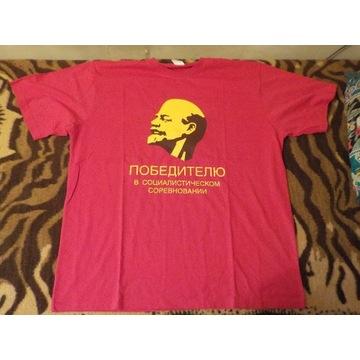 Podkoszulek T-shirt Lenin hasło propagandowe XXL