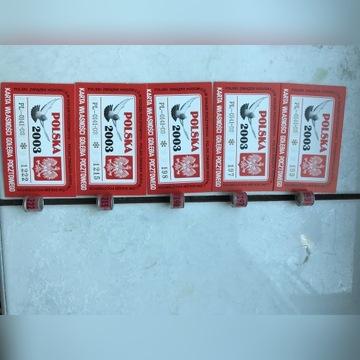 Obrączki dla gołębi -obrączki PL 2003 +karty