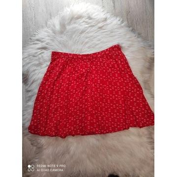 Czerwona spódniczka mini drobne wzory C&A S