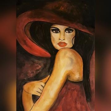 """Obraz ręcznie malowany""""Kobieta w czerwieni"""""""
