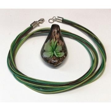 Naszyjnik szkło weneckie 3D  zielony 2