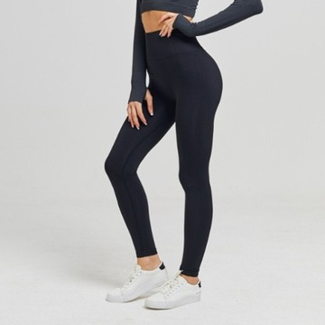 Czarne legginsy sportowe na siłownię wysoki stan