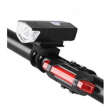 LAMPA ROWER LED USB HULAJNOGA PRZÓD TYŁ kpl