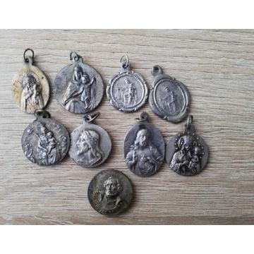 Zestaw, starych medalików alpaca, brąz, cyna