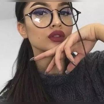 Czarne okulary w stylu retro zerówki kujonki