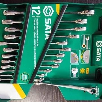Zestaw kluczy płasko-oczkowych 8-19mm SATA