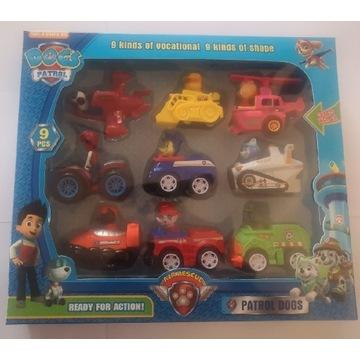 Psi patrol zestaw 9 pojazdów z figurkami