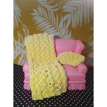 kocyk dla Barbie, jasny żółty, handmade