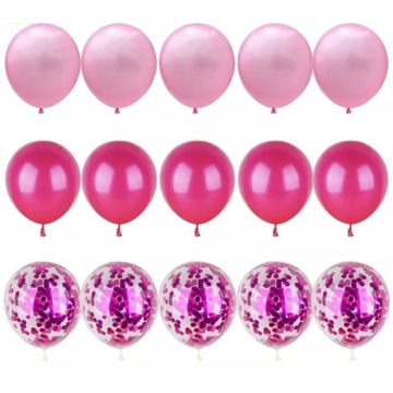 Zestaw balonów 15 szt - różowy balon