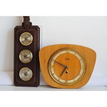 Stary zegar i barmometr w skórze