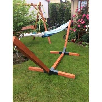 Hamak ogrodowy. Stelaż drewniany GRUBE BELKI 75x75