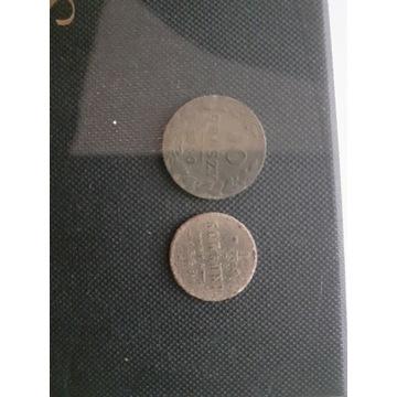 10 groszy 1840 plus 1/2 kopiejki1899 plus 3 guziki