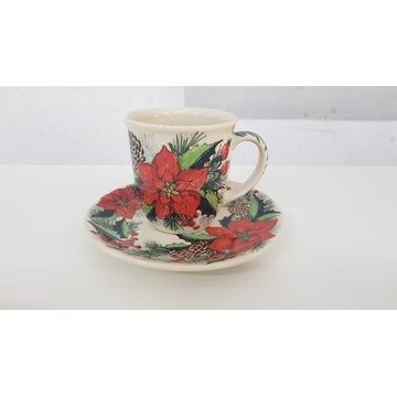 Zestaw kubek z talerzykiem ceramika Bolesławiec