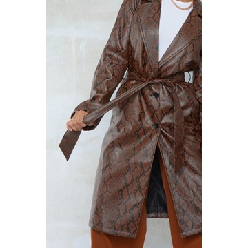Czekoladowy brązowy trencz skórzany płaszcz 38 M