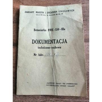 Betoniarka BWE-150-IIIa DTR instrukcja 1976r