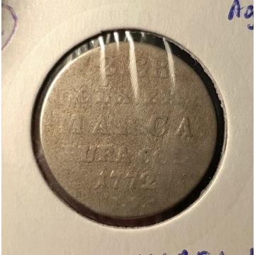 SAP 2 grosze - 1772 r. I S  - SREBRO (R2)