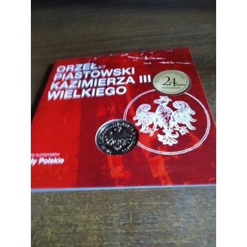 Orzeł piastowski Kazimierza III Wielkiego numizmat
