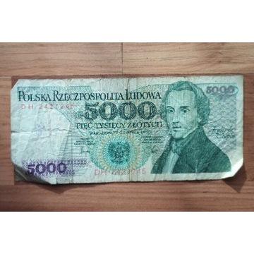 Banknot PRL 5000 zł Chopin