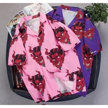 letnia koszula bez rękawów diabeł fioletowy różowy