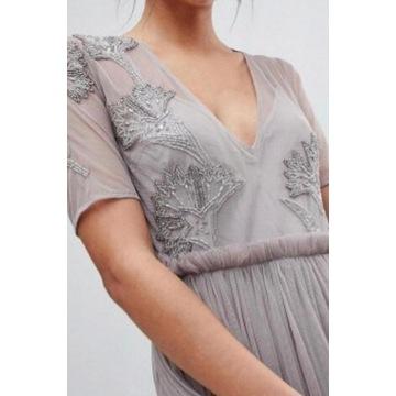 Szara sukienka z cekinami i tiulem