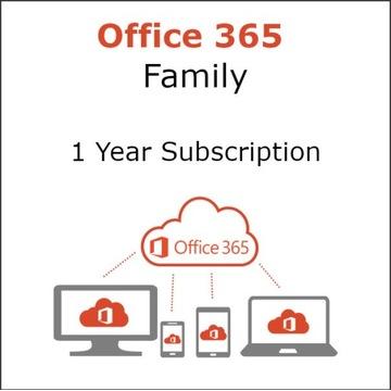 Office 365 Family 1 Rok, 6 użytkowników