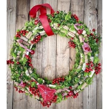 Świąteczny wianek z Korków, Boże Narodzenie 50 cm