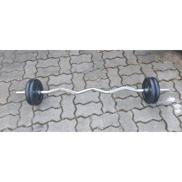 Sztanga łamana ok 28/30kg gryf śrubowy 120cm/25 mm