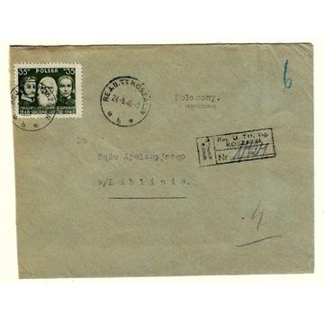 Koperta z 1949r ze znaczkiem nr 452