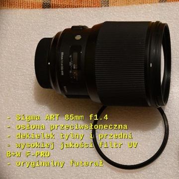Obiektyw SIGMA ART 85mm f1.4 Nikon +filtrUV +fotki