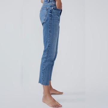 Nowe jeans Zara, dopasowane, średni stan 38