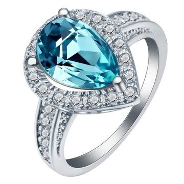 Nowy pierścionek srebrny kolor jasnoniebieska cyrk