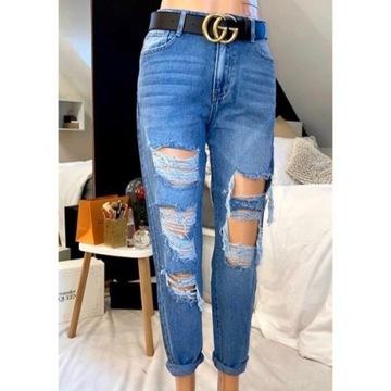 Spodnie z przetarciami i dziurami typu boyfriend