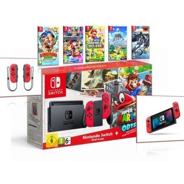Nintendo SWITCH + 5 Gier + Etui + Akcesoria