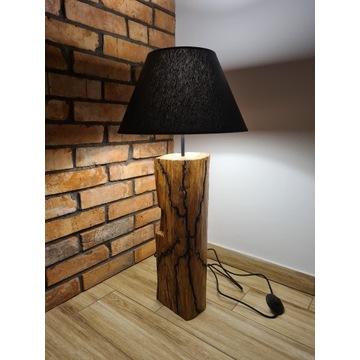 Lampa stojąca drewniana retro rękodzieło