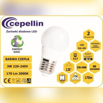 Żarówka LED A50-3W-CC 3W. 3000K, 170LM, Gwint  E27