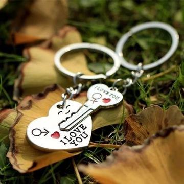 Brelok dla par breloczek serce i klucz
