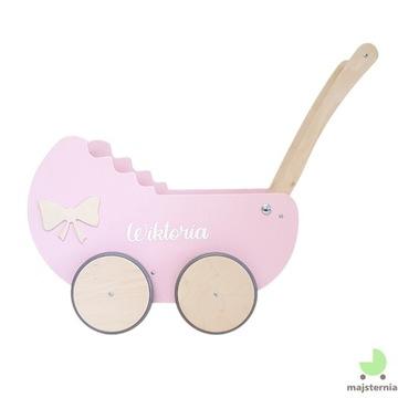 Drewniany wózek dla lalek+ dekor+ imię+ materacyk
