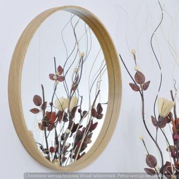 Okrągłe lustro 80 cm dębowa rama do łazienki
