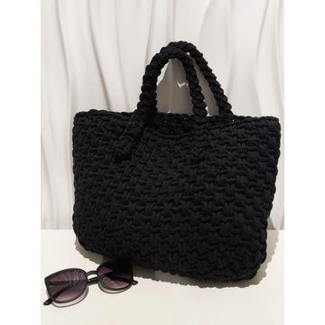 Czarna torebka ze sznurka MakrMama