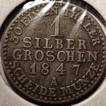 1 silber groschen 1847 A Srebro Ag