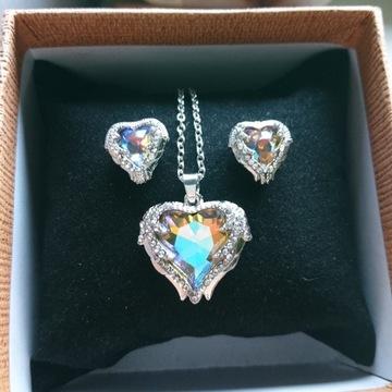 Komplet kryształowe serce AB z cyrkoniami