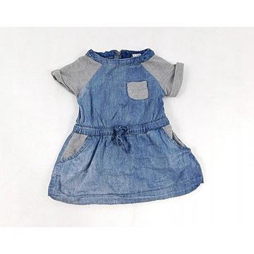 RESERVED - lekka, jeansowa sukieneczka, roz.68