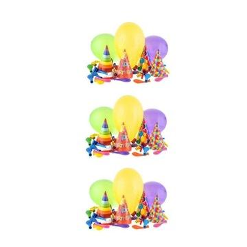 ZESTAW 12x Czapeczki Trąbki Balony