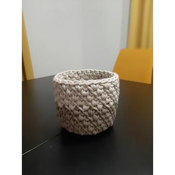 Koszyk ze sznurka doniczka handmade szydełkiem