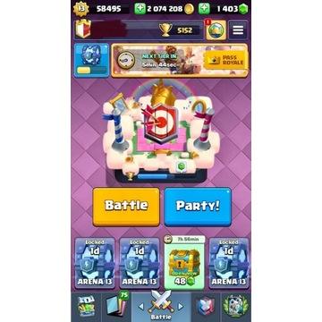 Clash Royal level13, 2mln gold, 1400gems