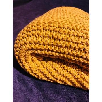 Koc ręcznie robiony żółty miodowy 100% bawełna