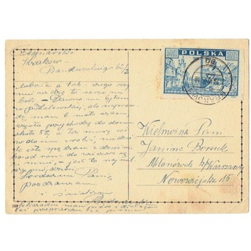 Kraków - karta poczt. z 1946 r.