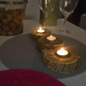 Komplet świeczników dąb boho nordic industrial eko