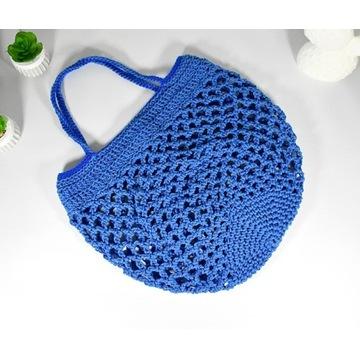 Bawełniana torba, siatka retro niebieska